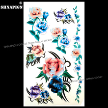 SHNAPIGN Yellow Blue Rose Temporary Tattoo Body Art Arm Flash Tattoo Stickers 17*10cm Waterproof Fake Henna Painless  Sticker