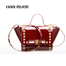 2017 new ladies  bag fashion jelly lacquered women's bag with rivet rivet Select ultra high quality fabrics handbag