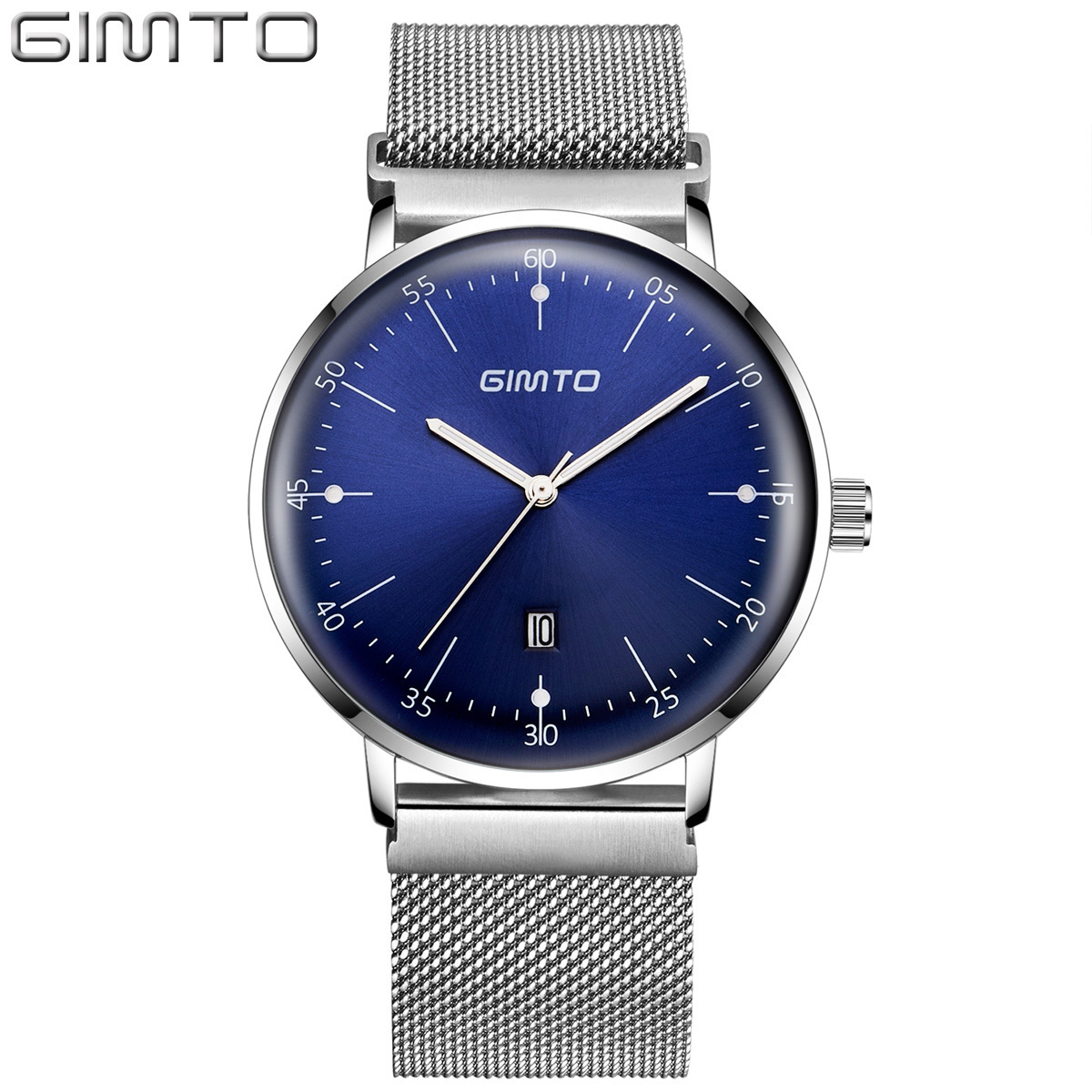 GIMTO Arched Curved Mirror Brand Luxury Male Metal Mesh Band Watch Men Calendar Mens Watches Stainless Steel Waterproof Luminous<br>