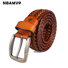 New Belt Man and woman Fashion Mens belts luxury genuine leather Brown braided Real Cow skin straps men Jeans belt Ys082(China)