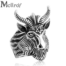 Mcllroy Men ring Ring Aries cool Fashion Jewelry titanium steel rings Pentagram with Sheep Personality rings Men Jewelry(China)