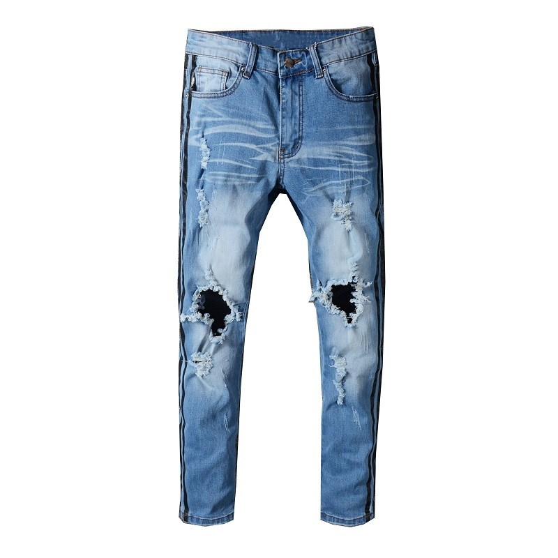 2018 BLACK FOG STREET men's zippers slim fit cotton Denim ripped wash old damage Hole jeans 5312#