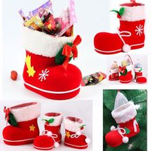 2017 Christmas Decorations Tree To Hang  Flocking Boots Boots The Christmas  gift candy container