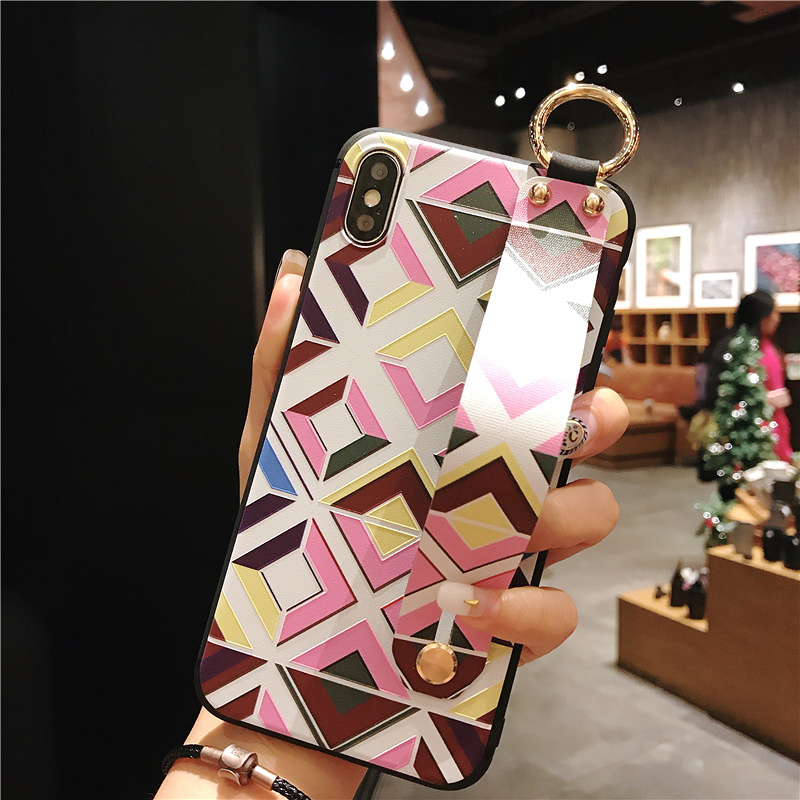 4 SoCouple Retro Grid Pattern Wrist Strap Phone Case For iphone 7 8 6 6s plus Case For iphone X Xs max XR Soft Silicone Case