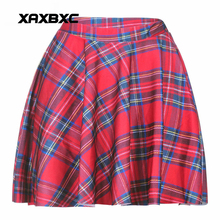 NEW 1007 Summer Sexy Girl Scotland plaid tartan Red Printed Cheering Squad Tutu Skater Women Mini Pleated Skirt Plus Size