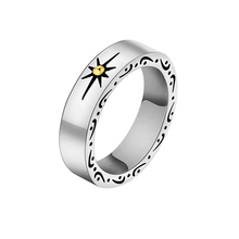 Retro Simple Engraved Sun Ring Titanium Steel High Polish Round Shaped Energy Rings For Women Men Anillos Best Gift(China)