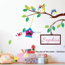 Custom Any Kids Name Wall Stickers Creative Owls Tree Branch Mural Decals Room Decor
