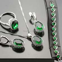 Jewelry Sets For Women Luxury Silver Color Green Created Emerald Necklace/Earrings/Ring/Bracelet Crystal Set Bjs02-001-03