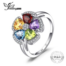 JewelryPalace Fower 2.6ct Natural Blue Topaz Amethyst Citrine Garnet Peridot Ring 925 Sterling Silver Gemstone Fine Jewelry 2018
