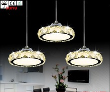 Restaurant chandelier three crystal lamp simple modern table lamp round LED kitchen bar dining room lights(China)