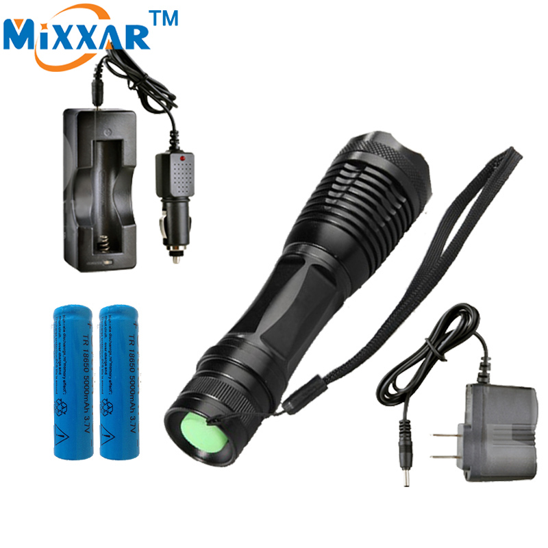 zk20 e17 CREE XM-L T6 LED 4000LM Aluminum Torches Zoomable LED Flashlight Torch Lamp contain two batteries two chargers<br><br>Aliexpress