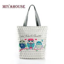 Floral And Owl Printed Women's Casual Tote Female Daily Use Female Shopping Bag Ladies Single Shoulder Handbag Simple Beach Bag(China)