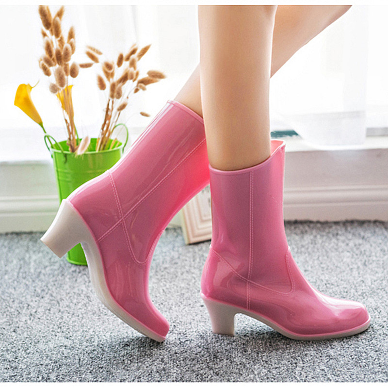 Free Shipping Fashion Women Thick Heeled Mid-calf Rain Boots Summer Rubber Square High Heels Solid Rain Boots Spring And Autumn<br><br>Aliexpress