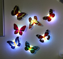 5pcs novelty glowing butterfly night lamp led bottom sticker night light for children romantic Home Decorative Wall Nightlights