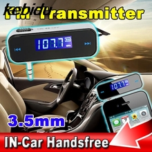 kebidu 1pcs 3.5mm Jack Car Kit Wireless FM Transmitter Radio Modulator Handsfree Car Styling MP3 Player For iPhone for Samsung