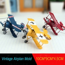 6pcs/lot Vintage Metal Plane Model Iron Retro Aircraft Glider Biplane Aeromodelo Pendant Airplane Model Toy Home Decoration(China)