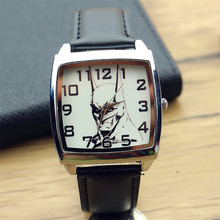 promotion unisex casual square leather watch batmen super hero dial child cartoon quartz wristwatch best gift for students
