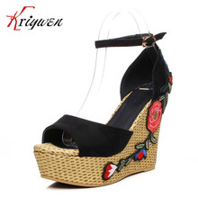 summer new green peep toe women ethnic sandals platform high heels party shoes for club appliques mixed color female lady shoes
