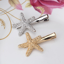 Summer Style Women 4.2 cm Gold Starfish Headdress Girls Hair Accessories Silver Sea Star Hairpins for Charming Female Hair clips(China)