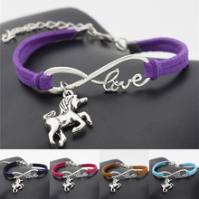 10pcs/lot Wholesale Lucky Antique Silver Unicorn Horse Charm Pendant Leather Bracelets Infinity Love Jewelry for Unicorn Gifts