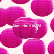 "DIY 24 pcs/lot 12"" Hot Pink Paper Lanterns Chinese Paper Lanterns for Wedding Party Home Decorations Festive Supplies"