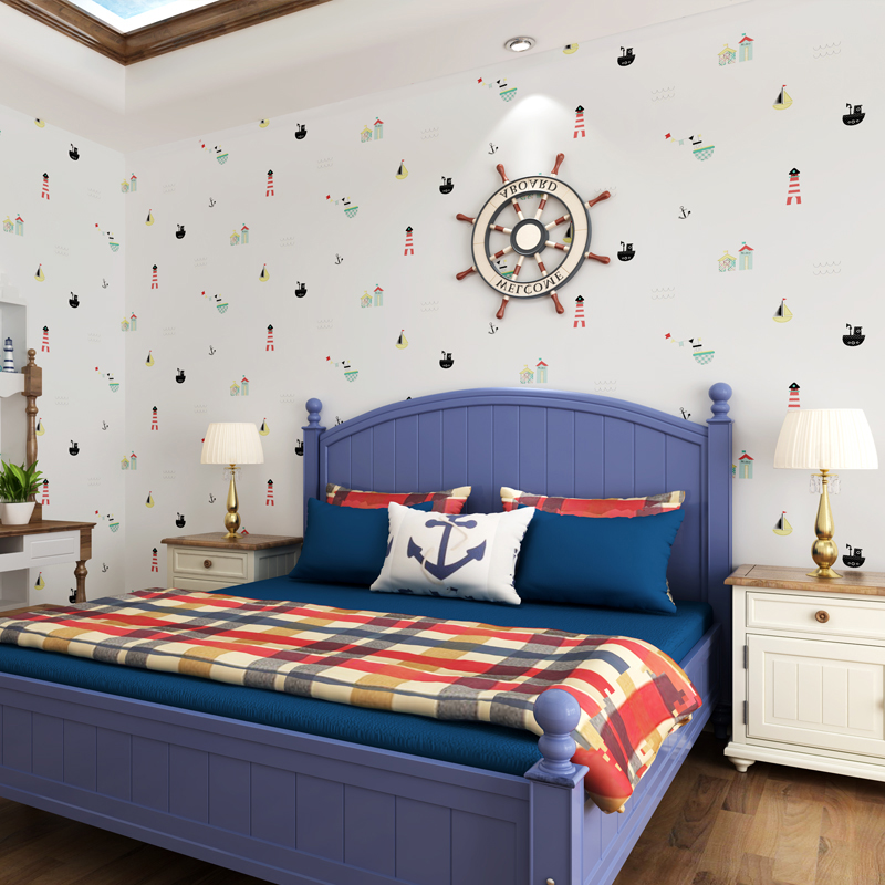 Children Room Wallpaper Non-woven Wallpaper Mediterranean Style Warm Boys And Girls Bedroom Cartoon Background Wall Paper Print<br>