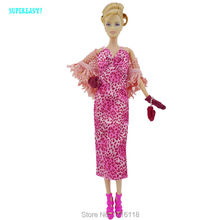 Fashion Graceful Lady Outfit Pink Leopard Print Long Dress Knit Tippet Gloves Handbag Shoes Accessories For Barbie Doll Clothes