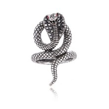 Hot Sale Never Fade Retro Punk 3D Cobra King Rings Rhinestone Personality Ring Jewelry