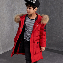 Boys Winter Jackets Fur Hooded Teenage Boys Winter Coats Children Duck Down Jackets Kids Outerwear for Age 8 9 10 12 14 15 Year(China)