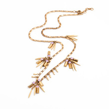 Pink Crystal Gold Alloy Stick Pendant Necklace Antique Gold Color Long Necklace Online Shopping India Accessories(China)