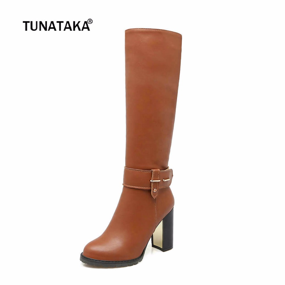 Winter Warm Square High Heel Side Zipper Knee High Boots Fashion Round Toe Shoes Woman Brown White Black<br>