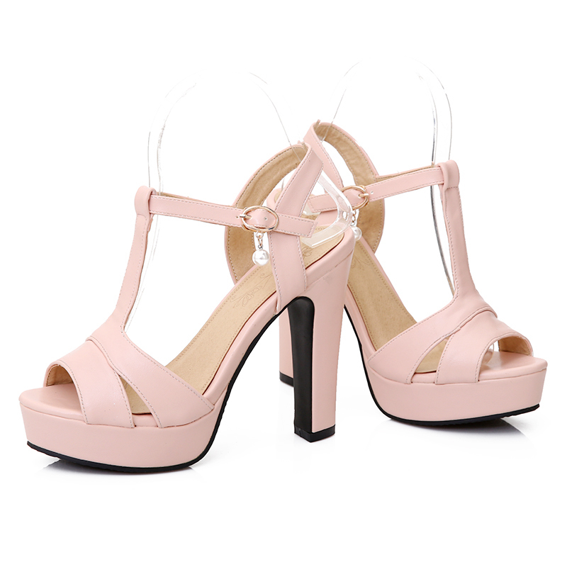 Plus size 34-43 New 2017 Summer Women Sandals Fashion Thick High Heels Party Shoes T-Strap Rome Style Ladies Beach Shoes<br><br>Aliexpress