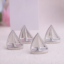 1pcs  Sail Boat Silver Beach Theme Place Card Holders  Wedding picture name frame wedding supplies table number cards clips