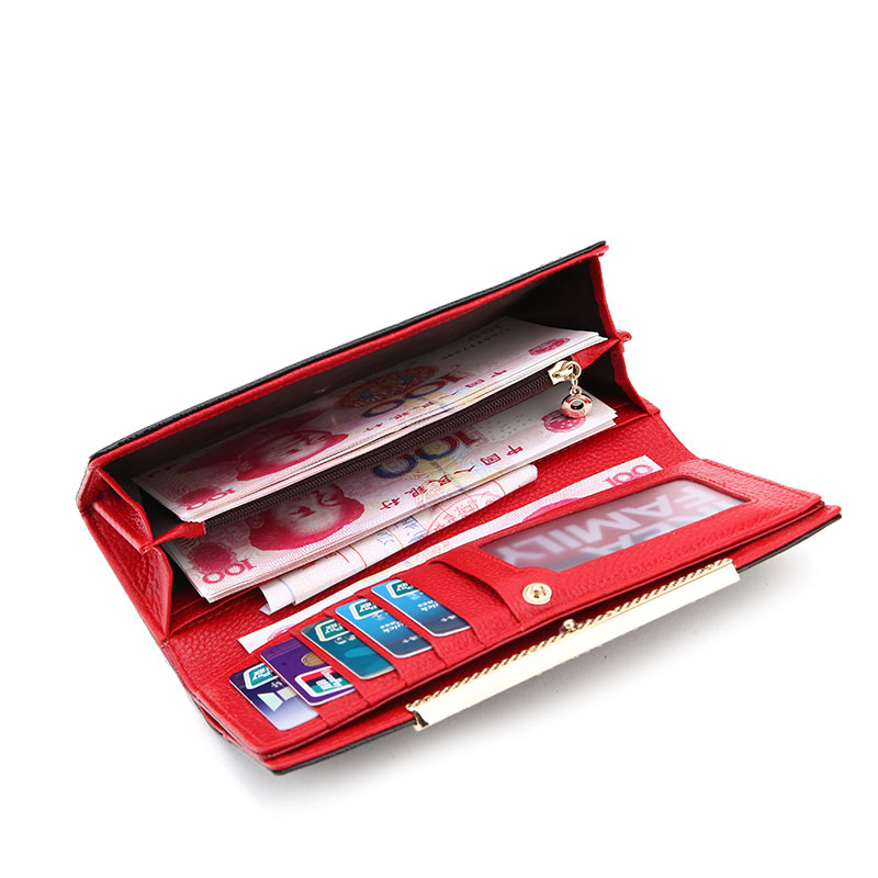 European and American Style Genuine Leather Panelled Ladies Purse Crocodile Alligator Long Wallet Card Holder Clutch Wallet<br>