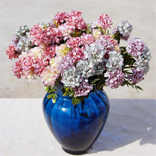 European Fake Hydrangea Flower Ball Bunch Artificial Chrysanthemum Double Color Flower Head for Wedding Cneterpieces