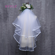 New Arrival Bridal Veil Custom MadeTulle Veil For Bride Wedding Veil Two layers Simple Veil For Wedding(China)