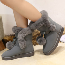 Ladies lovely pompon fur mid calf boots 2017 new arrival plush butterfly knot female warm shoes winter snow boots(China)