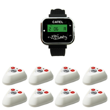 8 calling buttons+1 watch pager receiver/cafe or restaurant waiter call bells/wireless calling systems/rechageable pager(China)