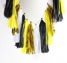 Black Yellow White Gold Garland- Banner - Wedding - Bachelorette - Party - Cake Smash - Bridal Shower Set of 16