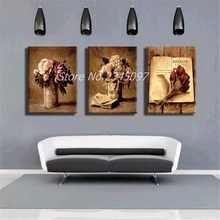 Frameless Canvas Print Art Oil Painting Modular Home Decoration Still Life Vase Flowers Picture for Room Wall decor 3 Panel(China)
