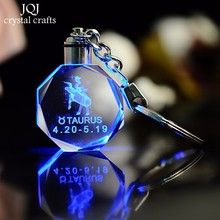 Zodiac Laser Engraved Crystal Ornaments Variable Colors LED Lighting Miniature Octagon Glass Crafts Home Decoration Accessories