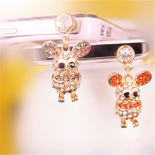 3.5mm Lovely Pig Telephone Plug Personality Diamond Headphones Dust Plug Stubs For Iphone Xiaomi Samsung Push-button Telephone(China)