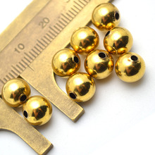 Gold Color Plating Metal Copper Round Ball Spacer Loose Beads 4mm 6mm 8mm 10mm 12mm 14mm 16mm Jewelry Findings 100PC/Lot