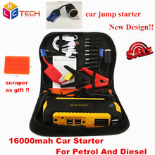 Russion Stock! Car Jump Starter 16000mah Car Emergency For Petrol/Diesel Multi-function Booster Car Charger Battery Power Bank(China)
