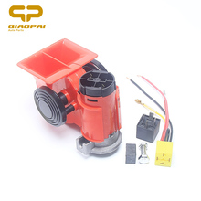 12V/24V Universal Motorcycle Car Air Compressor Loud Whistle Voice Air Horn Truck Single Train Relay Socket 150db Red Air Horn(China)