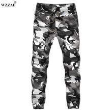 WZZAE 2017 New Design Mens White Camo Joggers Man Street Dancing Sweatpants Army Jungle Green Joggers Plus Size M-5XL Trousers(China)