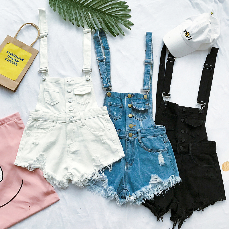 New Collection Summer Korean Loose Women Denim Jumpsuit High-waisted Ripped Hole Wavy Edge Jumpsuit Fashionable Suspenders Pants2