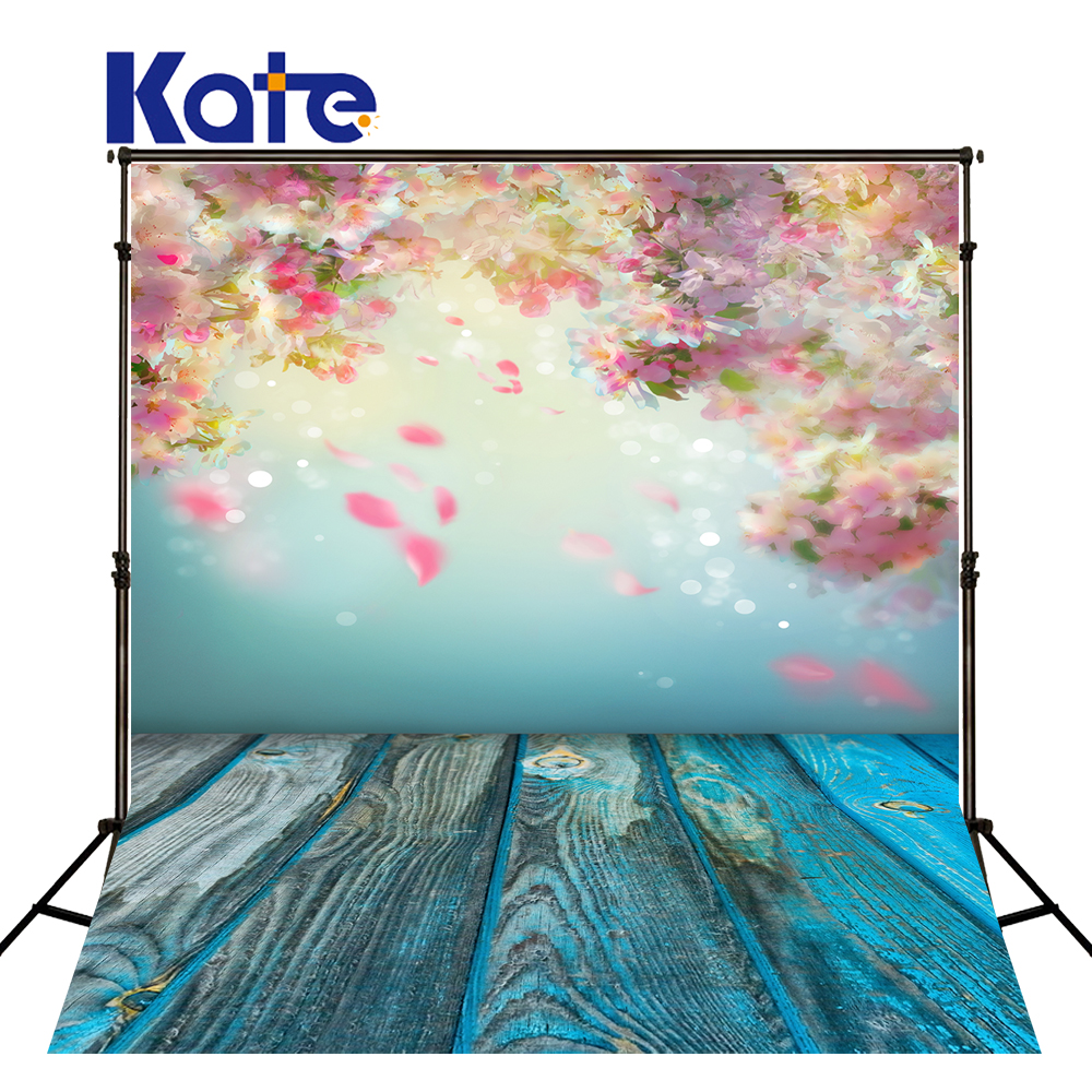 Kate Children Flowers Backdrops Photography Blue Wooden Floor Backgrounds Scenic Photography Backdrops Fundo Fotografico Newborn<br>