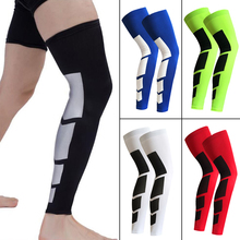 1pcs Long Knee Protector Sports Basketball Football Breathable Compression Leggings Knee Brace Anti-slip Leg Sleeve Calf Support(China)