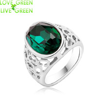 new design queen kate wedding bridal Wholesale white gold color brand Austrian Crystal emeral green finger Rings jewelry 80042